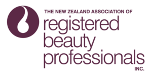 NZ Assoc of Reg Beauty Professionals logo - TALL Maroon on White